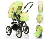 18 teiliges Qualitäts-Kinderwagenset 5 in 1 CITY DRIVER: Kinderwagen + Buggy + Autokindersitz + Schirm + Winter-Fussack - Megaset - all inclusive Paket in Farbe HELLGRÜN-VANILLE-ORANGE