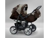 Akjax Piko 3in1 - Kombikinderwagen - Kinderwagen - Buggy - Babyschale - mit Sonnenschirm & chrom Rad Farbe Nr.08 braun / leopard