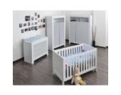 Babyzimmer Felix mit 2-türigem Kleiderschrank in weiss mit grauen Schranktürfronten