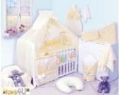 8tlg Babybettwäsche (gelb) Schlafmütze Bär 135x100cm Kinderbettwäsche Bettwäsche Himmel Nestchen Baby