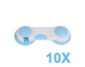 10 x Schrankschloss Kindersicherung Schranksicherung Baby Sicherheit Tuer Schublade Schrank Sicherung Blau+Weiss