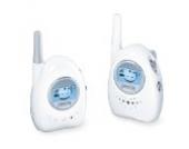 Sanitas SBY 79 Babyphone, analoges Babyphone mit strahlungsarmer und energieeffizienter Übertragung, Weiß / Grau