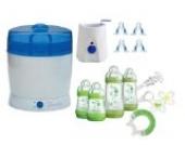 MAM Set 3 - Startset - Flaschen Sauger Sterilisator Flaschen- & Babykoster 22 tlg. - Grün + gratis Schmusetuch Löwe Leo
